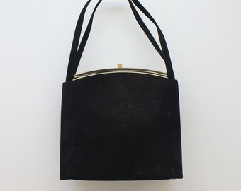 50's / 60's Kelly Style Bag / Black Suede Purse / Double Handle