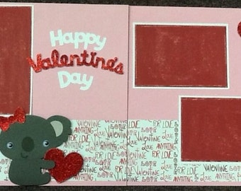 Happy Valentine's Day 2 page 12x12 scrapbook page kit or premade layout