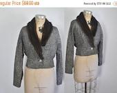 SALE 1950s Mink Fur Blazer Jacket / tweed / medium