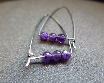 purple amethyst hoops. hypoallergenic niobium earrings. made in Canada.