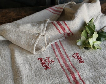 c 697 grain sack,  antique linn;  wedding decoration; christmas, LIN, FRENCH RED;  pillow benchcushio thanksgiving; gift bag