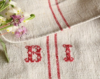 B 48 grainsack, antique linen; FRENCH RED; pillow benchcushion; 44.09 long;  wedding decoration; easter decoration, thanksgiving