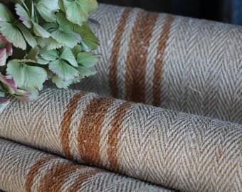 C 592 antique hemp linen CARAMELL upholstery 4.59 yards handloomed benchcushion Beachhouse look