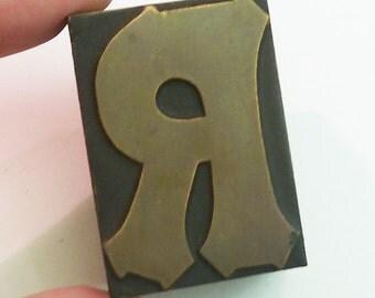 "1 3/4"" Tall Letter R Vintage Letterpress Printer's Block beautiful antique block monogram wedding"