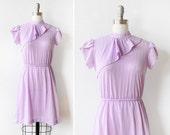 70s disco dress, purple mini dress, vintage 80s polka dot dress,