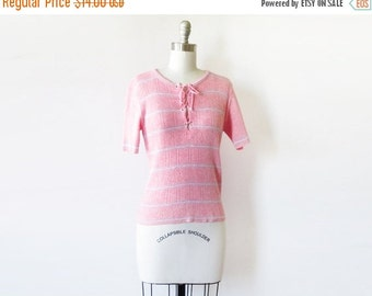 50% OFF SALE 70s pink knit top, pink eyelet sweater, vintage 1970s striped pointelle knit top
