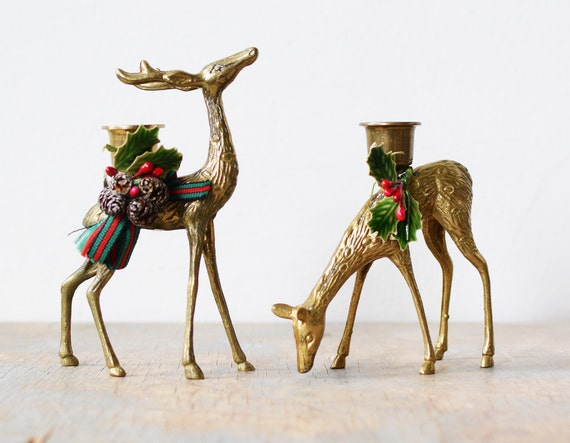 brass deer candle holders, vintage brass deer figurines, christmas holiday decor