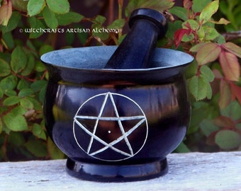 WITCH'S PENTACLE Large Black Soapstone Mortar & Pestle - Crafting Herb Spice Incense Grinding Preparation Tool, Kitchen Witchery, Witchcraft