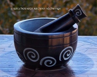 SPIRAL GODDESS Black Soapstone Mortar & Pestle - Crafting Herb Spice Incense Grinding Preparation Tool, Kitchen Witchery, Witchcraft