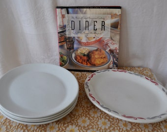 Retro Restaurant Ware/Five Vintage Heavy China Platter Plates/Gray Red Homer Laughlin and Steelite Pure White/Diner Chop Plates