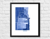 Kenosha Wisconsin Map Print.  Color Options and Size Options Available.  Map of Kenosha WI.