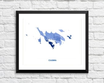 Culebra Island Map Print.  Choose your size and color.  Puerto Rico Island Decor.  PR Art.