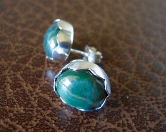 Jasper Gemstone Earrings, Natural Imperial Green Jasper Earrings, Post, Hand Forged Earrings