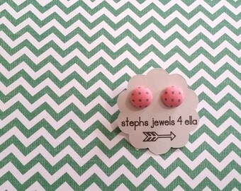 Pale Pink with Green Polka Dots Fabric-Covered Button Earrings