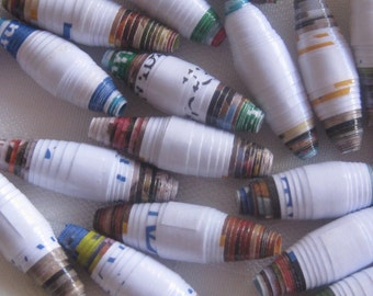 Paper beads, white with colorful edges, hand made, jewelry making, garlands, crafts