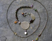 Sterling textured Necklace, Oxidised, Sterling Silver Gemstone Long Necklace - Experimentation Necklace No. 1