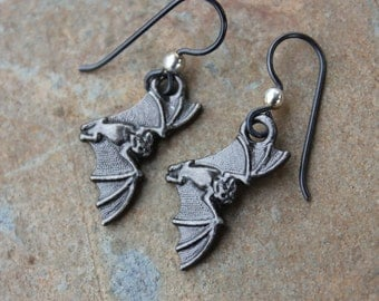 Bat Earrings - Gunmetal Black Bat Charms on Hypoallergenic Niobium Earwires - Macabre Gothic Fun - Halloween Horror