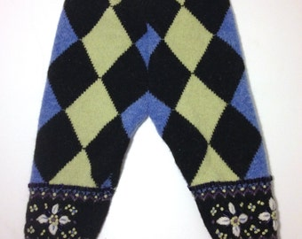 Diaper Cover Wool Longies - Lime Green and Blue Argyle Patterned Recycled Wool Longies