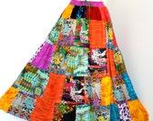 Boho chic skirt, Patchwork skirt, women skirt, plus size skirt, unisex skirt, indian prints,hippie skirt,batik skirt