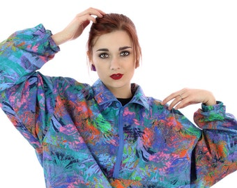 90s Neon  Pullover Windbreaker Jacket 80s Vintage Bright Surf Graffiti Paint Splatter Art 1980s 1990s Surfer Unisex Mens Womens XL