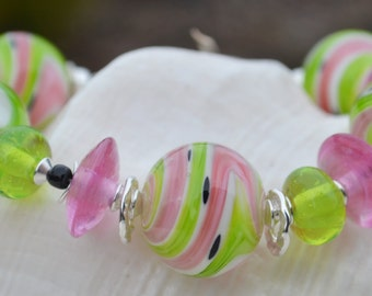 A YUMMY SLICE of SUMMER-Handmade Lampwork and Sterling Silver Bracelet