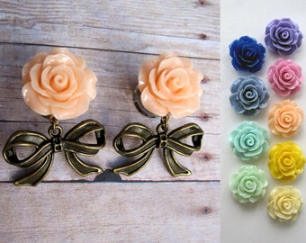 """Pair of Rose Plugs with Antique Brass Bow Charms - More Colors - 0g, 00g, 7/16"""", 1/2"""" (8mm, 10mm, 11mm, 12mm)"""