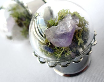 "Pair of Real Amethyst, Lavender and Moss Silver Plugs - Terrarium Gauges - 6g, 4g, 2g, 0g, 00g, 7/16"", 1/2"", 9/16"", 5/8"", 3/4"", 7/8"", 1"""