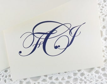 Monogrammed Stationery Custom Stationary with Traditional Monogram by Lime Green Rhinestones