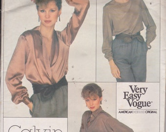 Vogue 2063 Misses' Very Easy Blouse Size 10 Calvin Klein Design Vintage UNCUT Pattern Easy Pattern Rare and OOP