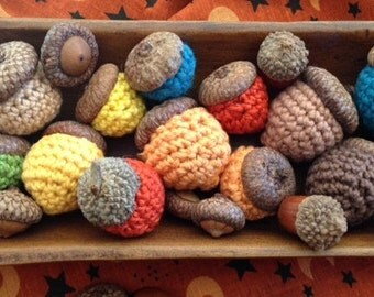 Crocheted Acorns - using real acorn caps