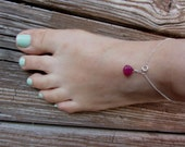 Ruby Anklet, Red Ruby,Anklets for Women,  July Birthstone Jewelry, Beach Wedding, July Birthday, REAL Ruby Stone