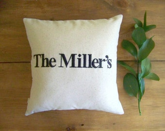 free shipping - personalized name pillow - wedding - engagement - anniversary - housewarming - gift - embroidered - custom