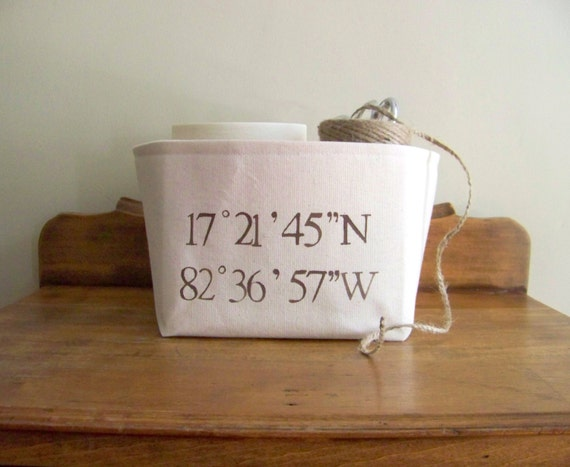 free shipping - canvas coordinates basket - personalized - gift basket - organization - storage - gps - latitude - longitude - wedding
