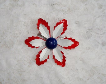 Vintage Red White Blue  Flower Pin Brooch