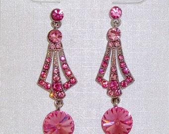 Pink Austrian Crystal Silvertone Post Earrings