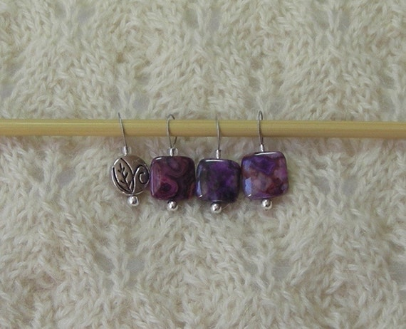Lace Knitting Stitch Markers : Knitting Stitch Markers - Purple Crazy Lace Agate - snag free loops - 12mm sq...