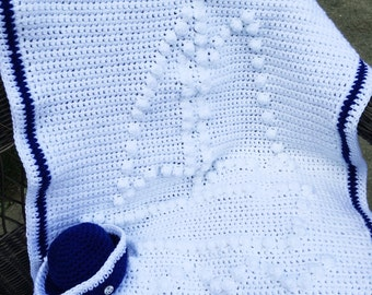 Sailor baby hat and ship themed newborn infant blanket crochet afghan in blue and white