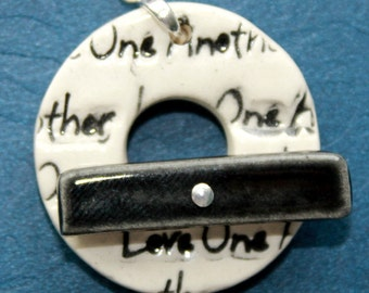 Love One Another Black and White Ceramic Clasp - Large Ceramic Circle Focal Toggle Clasp