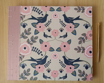 Birds and Flowers Wedding Album - Blush Peach Guest Book for Wedding or Anniversary