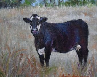 Cow Standing At Twilight, Animal Painting, Landscape Painting, Original Oil On Canvas Painting by Cheri Wollenberg
