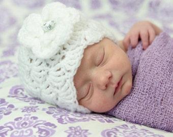 Newborn Beanie Hat - 6-9 Months Baby Girl Sizes  crochet Shell Pattern White Spring Hat Summer Hat Flower Beanie Hat Photo Prop Hat