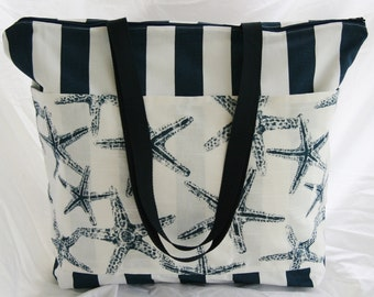 Ready to Ship-Navy Blue White Canopy Stripe-Starfish-Zippered Beach Tote- Overnight Bag-6-Outer Pockets Water and Mildew Resistant Interior