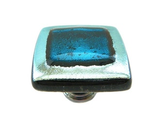 Elegant Glass Cabinet Knob in Silver and Teal Dichroic Glass by Uneek Glass Fusions. Custom Artisan Cabinet Hardware for Kitchen and Bath.