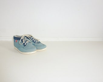 Vintage Blue Suede Toddler Shoes