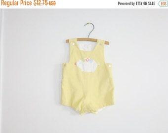 SALE // Vintage Yellow Corduroy Baby Romper