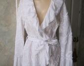 Vintage boho summer white ruffled blouse, wrap front ruffled neck sleeve white shirt, soutache embroidered white blouse, sz Sm white blouse
