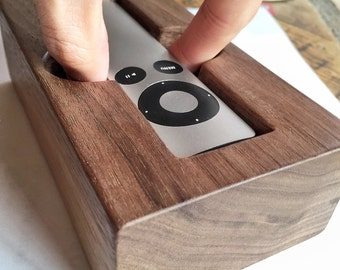 Apple TV Remote Holder/Cradle (2nd & 3rd Generation) - Handcrafted out of Solid Hardwood (Walnut, Sapele, or Zebra Wood) - Free Shipping!