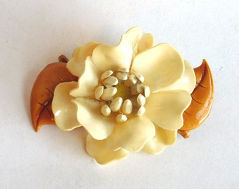 Vintage Large Celluloid Flower Brooch - Early Plastic 1930s-1940s Old World Rose Pin - Ivory Colored Bloom w/ Caramel Leaves - Molded Resin