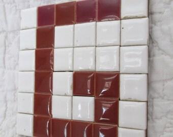 Vintage Tile Coaster  or trivet letter G SALE