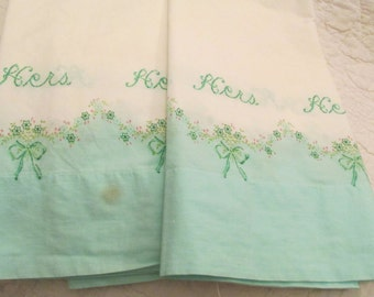 Vintage Pillow Cases Hers and Hers Cotton